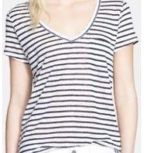 Paige Striped T-shirt Top White Gray V-Neck S
